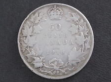 1918 Canada Fifty Cents .925 Silver Coin D8609