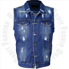 Mens Denim Coat Vest Jean Jacket Button Casual Sleeveless Vintage Tank Fashion