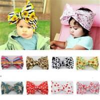 Cute Newborn Baby Turban Headwrap Big Bow Knot Girl Floral Cotton Wide Headband