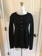 Vince Cashmere Cardigan Sweater Black Peplum Long Sleeves Women's -Sz M
