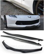 For 14-19 Corvette C7 | Z06 Stage 2 PRIMER BLACK Front Lip Splitter & Side Skirt