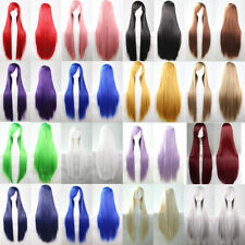 Womens Full Long Fancy Dress Wigs Straight Cosplay Costume Ladies Wig Party 80cm