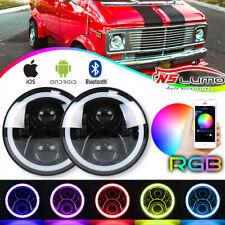 "LED 7"" Headlight Bluetooth RGB Halo Lights For Chevrolet G10/G20/G30/C10/C20/C30"