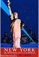 New York Wonder City Vintage United States Travel Advertisement Art Poster