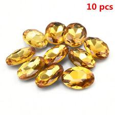 10pcs 10 x14mm Fashion Yellow Oval Shape Sapphire Loose Gemstone Jewelry Decor