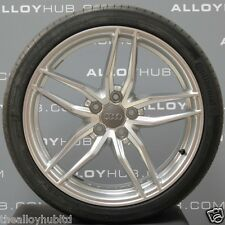 """GENUINE AUDI R8 V8/V10 19""""INCH 5 TWIN SPOKE SILVER ALLOY WHEELS AND TYRES X4"""