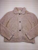 Columbia Womens Medium Brown Sherpa Fleece Winter Sweater Jacket Button Up T19