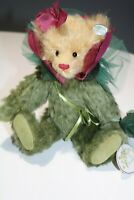 "Knickerbocker Mohair Jointed Bear 10"" Flower Bear NWT -Burgundy and Green"