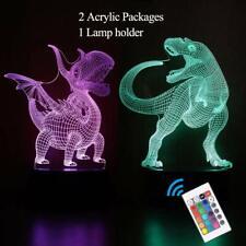Optical Illusion 3D Dinosaur Hologram Decor Light 7Colors USB Power Battery Lamp