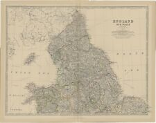 Antique Map of (northern) England and Wales by Johnston (1882)
