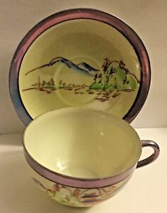 ANTIQUE HAND PAINTED MADE IN JAPAN CHIKARAMACHI TEA CUP & SAUCER * LUSTERWARE