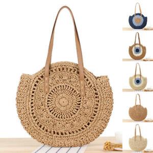 Summer Straw Beach Woven Handmade Handbags Women Shoulder Bags Rattan Tote Bags