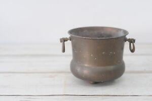 Vintage Decorative Solid Brass urn Planter With Finger Grip Handles