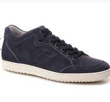 New Hogan Logo Lace Up Navy Made in Italy Suede Sneakers Size UK 9 US 10 $445