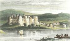 WALES. Conwy Castle, Caernarfonshire. DUGDALE 1835 old antique print picture