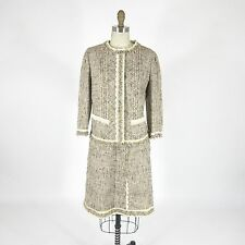 44 / 10 US - PRADA Gray Tweed Two Piece Lace Trim Skirt Suit Outfit 0815EB