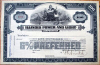 1920 Stock Certificate: 'Illinois Power and Light' - IL Utility