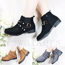 WOMEN LADIES CHELSEA STUDDED ANKLE BOOTS FLAT LOW BLOCK HEEL ZIP WORK SHOES SIZE