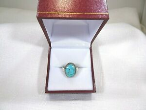 Lab-Created Oval Cut Blue Turquoise Solid Sterling Silver Ring- size US(7) AU(O)