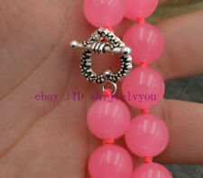 """Charm 12mm Pink Chalcedony Round Beads Gemstones Necklace 18"""" AAA"""
