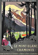 Art ad PLM le Mont Blanc Chamonix viaje Deco cartel impresión