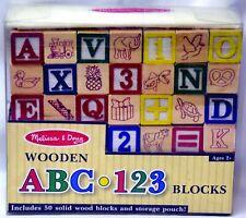 Melissa & Doug Deluxe 50 pcs ABC/123 Wooden Blocks Set NIP