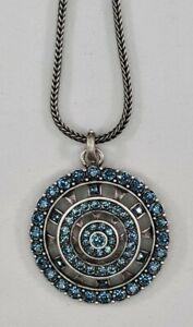 Touchstone Crystal by Swarovski Denim Medallion Necklace Lobster Claw Shiny