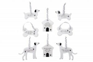 Ceramic hanging Dog Sentiment Plaque Sign Decoration Christmas Birthday GB04360