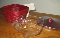 Longaberger ~ small TWIST BASKET, WOODCRAFTS LID & PROTECTOR ~ BOLD RED