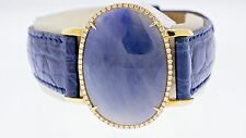 14K Yellow Gold Natural 24.39 Carat Blue Sapphire & White Diamonds Leather Band