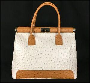Designer LANCEL OSTRICH LEATHER Vintage CREAM & CAMEL Tote SHOULDER Handbag BAG
