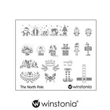 Winstonia Nail Art Stamping Image Plate Christmas Holiday NORTH POLE Mani Fun