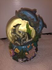 Sankyo Musical With Lights Dolphin Snow Globe With Tropical Fish & Coral Reef