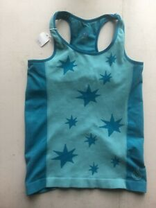 Women`s Athletic Top Gym T shirt Medium blue stretch built bra