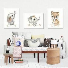 Bild Set Kunstdruck A4 Hase Fuchs Elefant watercolor Kinderzimmer Deko Geschenk