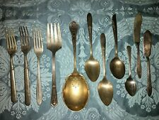 Lot ornate antique silverplate ? silverware spoons forks butter spreader knives