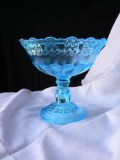 Cottage open high standard Compote Blue EAPG