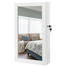 SONGMICS JBC51W Hängend Schmuckschrank mit Tür und Wandspiegel - Weiß