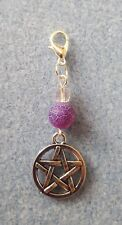 CLIP ON CHARM PURPLE DRAGONS VEIN AGATE PENTAGRAM WICCA PAGAN SPIRITUAL HEALING