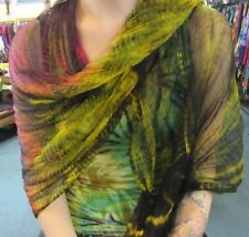 Silky Colourful Rainbow Indian Thin Scarf Wrap With Beads Tie Dye Black Tonings
