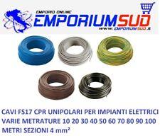 CAVO CORDINA UNIPOLARE FS17 4mm² CAVI FILO ELETTRICO VARIE METRATURE EX N07VK