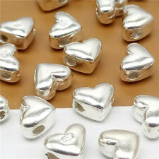 4 Sterling Silver Love Heart Beads 925 Silver Lover for Bracelet Necklace
