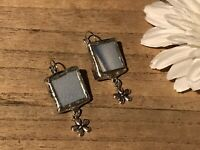 Recycled Broken Porcelain Jewelry, Blue Crazing Earrings w/Floral Charm