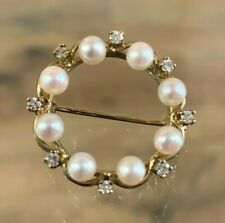 VINTAGE 9CT GOLD PEARL & WHITE SAPPHIRE BROOCH PIN