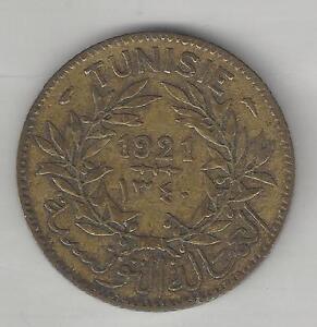 TUNISIA, AH1340, 1921, 1 FRANC,  ALUMINUM BRONZE,  KM#248, VERY FINE-EXTRA FINE