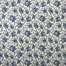 VTG Margin Designs Upholstery Drapery Fabric Floral Blue Cotton 6 3/4 yd USA