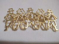 "Brooch VTG Gold Tone Metal Signed AJC People Dangle Hearts 3.25"" long"