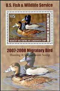 RW74B 2007 Migratory Oiseau Mini Feuille Artiste Signé Canard Tampon F-Vf Solde