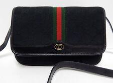 Gucci Vintage Black GG Canvas Leather Red Green Stripe Crossbody Clutch Bag