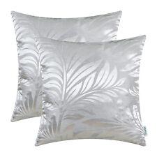 2Pcs Silver Gray Cushion Covers Pillow Shells Tropical Fern Leaf Home Decor 45cm